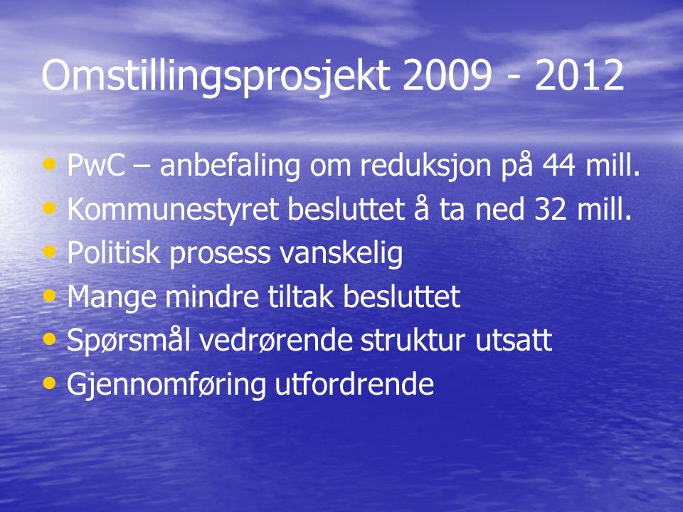 Omstillingsprosjekt 2009 - 2012 PwC – anbefaling om reduksjon på 44 mill. Kommunestyret besluttet å ta ned 32 mill. Politisk prosess vanskelig Mange m