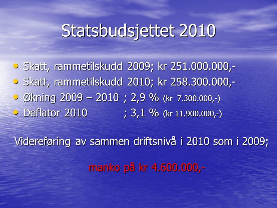Statsbudsjettet 2010 Skatt, rammetilskudd 2009; kr 251.000.000,- Skatt, rammetilskudd 2009; kr 251.000.000,- Skatt, rammetilskudd 2010; kr 258.300.000
