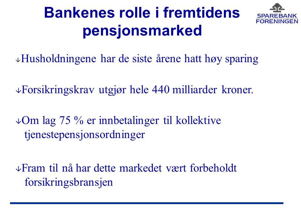 Bankenes rolle i fremtidens pensjonsmarked â Husholdningene har de siste årene hatt høy sparing â Forsikringskrav utgjør hele 440 milliarder kroner.