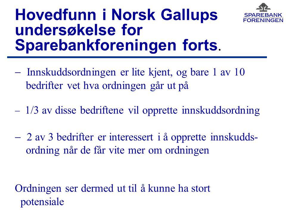 Hovedfunn i Norsk Gallups undersøkelse for Sparebankforeningen forts.