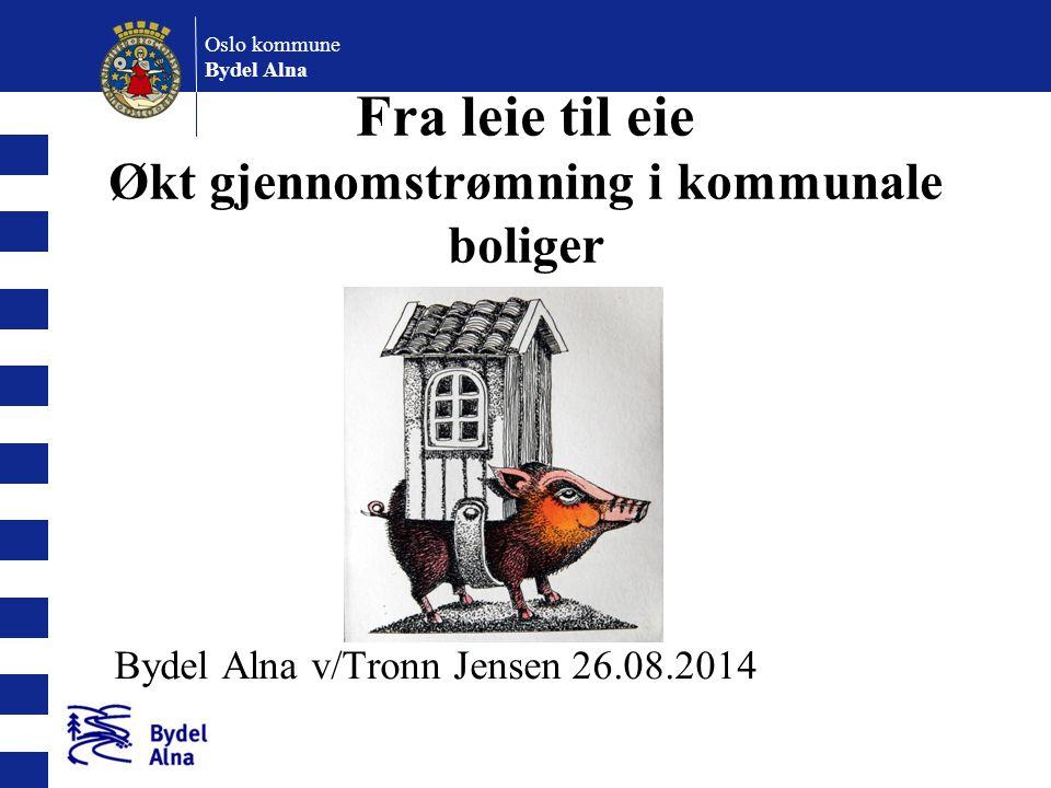 Oslo kommune Bydel Alna Bakgrunn: Nasjonale og lokale mål: Stortingsmelding nr 23 2003-2004 Om boligpolitikken - mål at alle skal kunne eie sin egen bolig NOU 2011:15 Rom for alle.