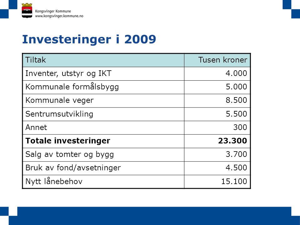 Investeringer i 2009 TiltakTusen kroner Inventer, utstyr og IKT4.000 Kommunale formålsbygg5.000 Kommunale veger8.500 Sentrumsutvikling5.500 Annet300 T