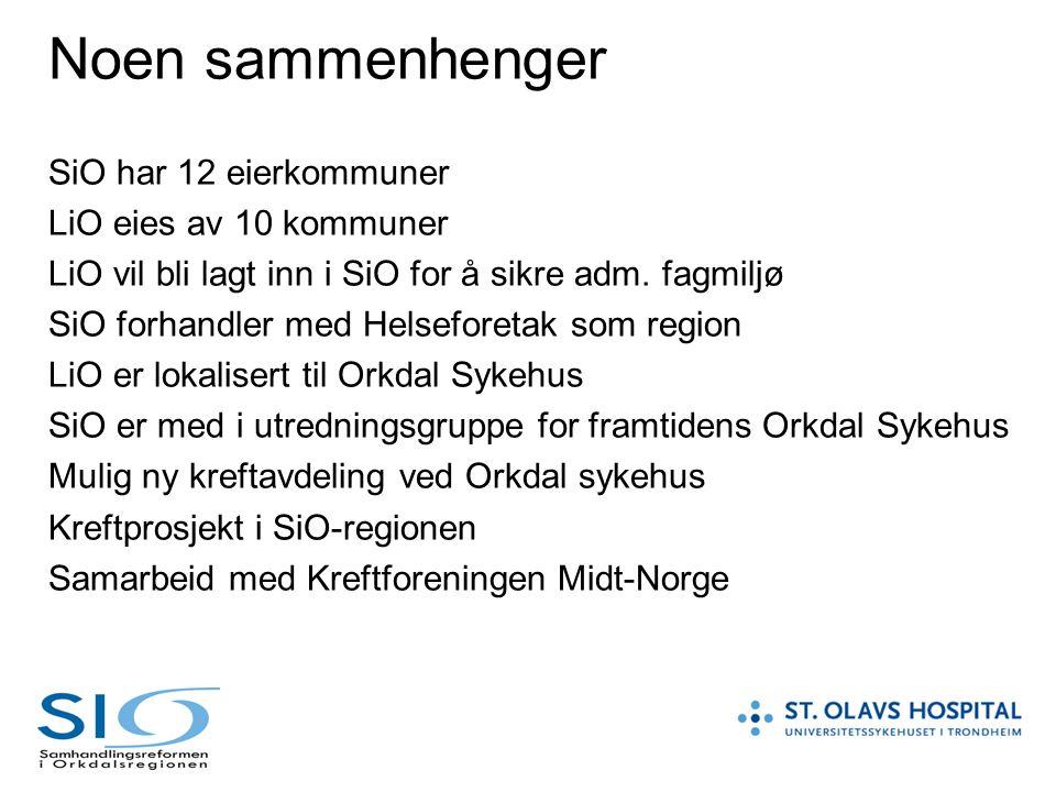 Noen sammenhenger SiO har 12 eierkommuner LiO eies av 10 kommuner LiO vil bli lagt inn i SiO for å sikre adm. fagmiljø SiO forhandler med Helseforetak
