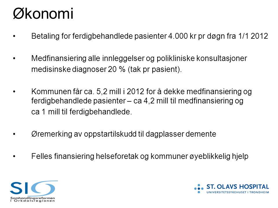 Økonomi Betaling for ferdigbehandlede pasienter 4.000 kr pr døgn fra 1/1 2012 Medfinansiering alle innleggelser og polikliniske konsultasjoner medisin