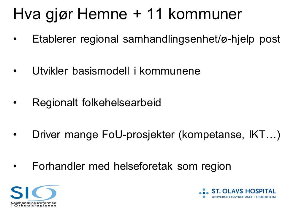 Hva gjør Hemne + 11 kommuner Etablerer regional samhandlingsenhet/ø-hjelp post Utvikler basismodell i kommunene Regionalt folkehelsearbeid Driver mang