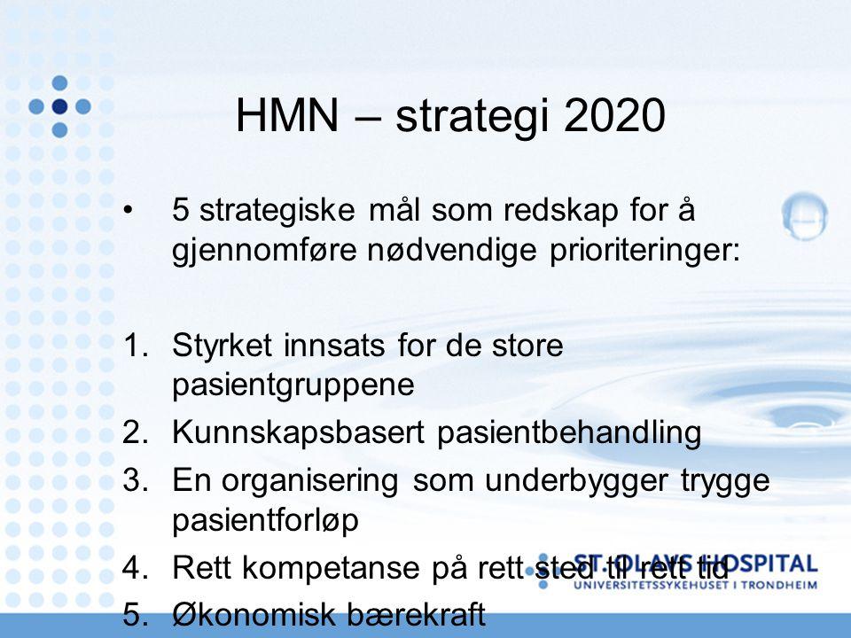 HMN – strategi 2020 5 strategiske mål som redskap for å gjennomføre nødvendige prioriteringer: 1.Styrket innsats for de store pasientgruppene 2.Kunnskapsbasert pasientbehandling 3.En organisering som underbygger trygge pasientforløp 4.Rett kompetanse på rett sted til rett tid 5.Økonomisk bærekraft