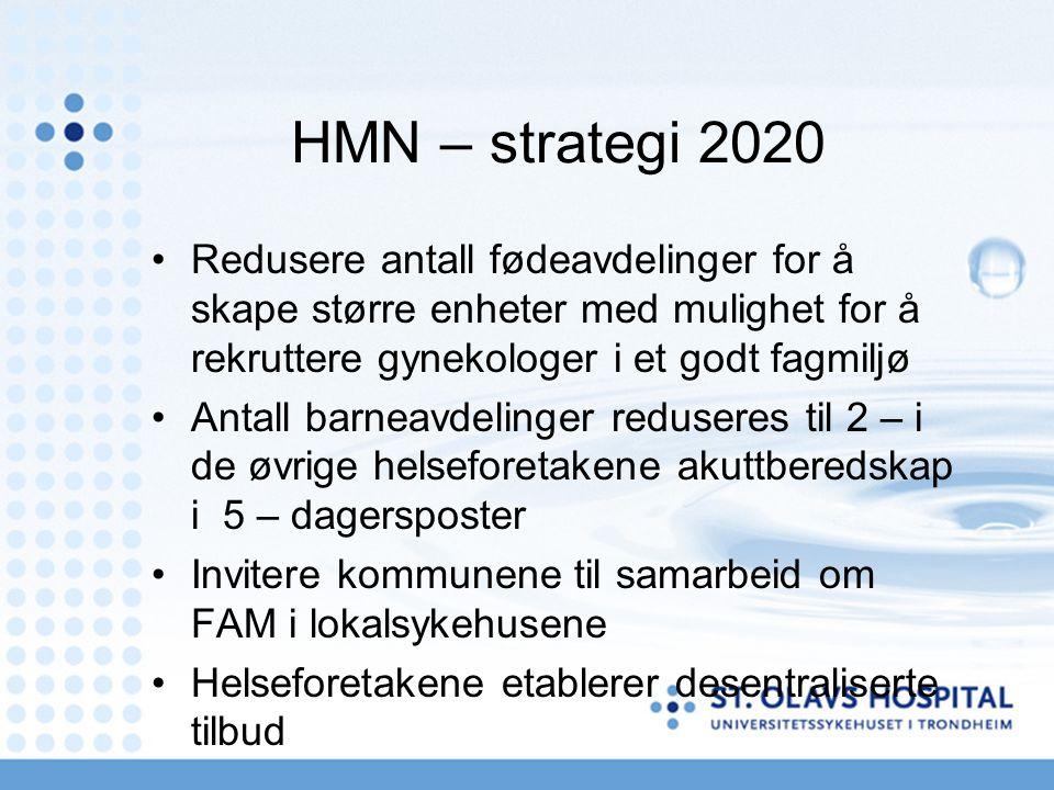 HMN – strategi 2020 Redusere antall fødeavdelinger for å skape større enheter med mulighet for å rekruttere gynekologer i et godt fagmiljø Antall barneavdelinger reduseres til 2 – i de øvrige helseforetakene akuttberedskap i 5 – dagersposter Invitere kommunene til samarbeid om FAM i lokalsykehusene Helseforetakene etablerer desentraliserte tilbud