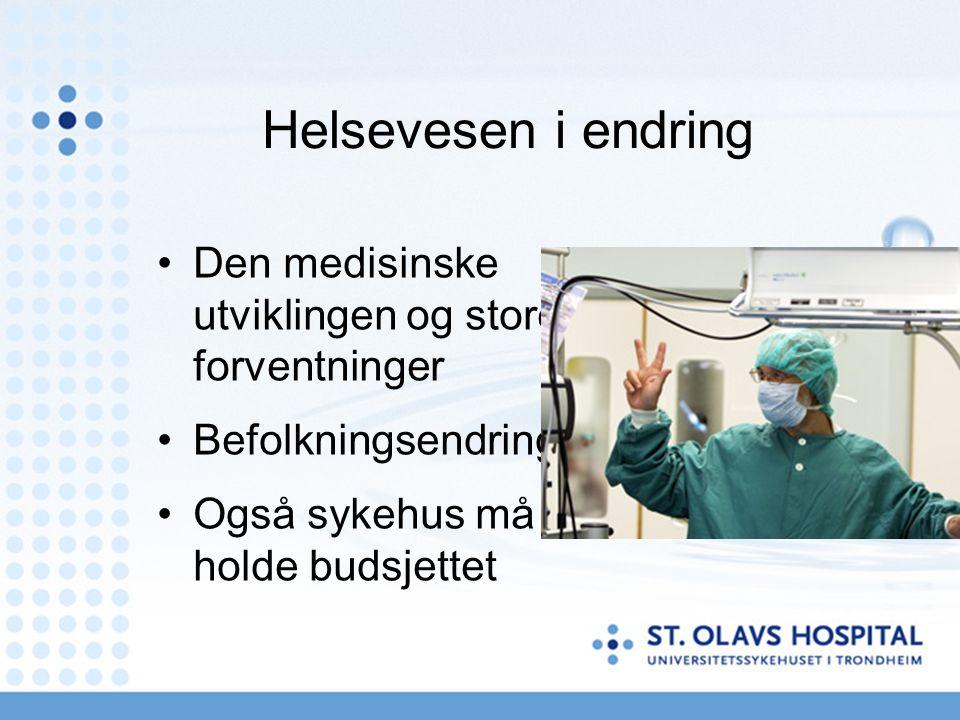 Helsevesen i endring Den medisinske utviklingen og store forventninger Befolkningsendring Også sykehus må holde budsjettet