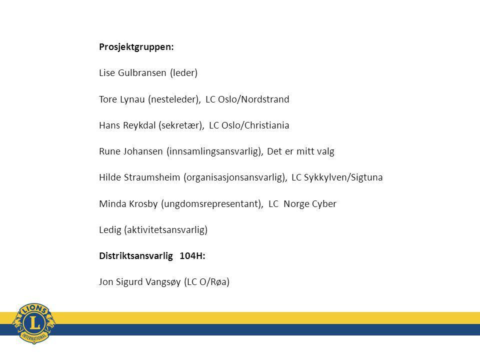 Prosjektgruppen: Lise Gulbransen (leder) Tore Lynau (nesteleder), LC Oslo/Nordstrand Hans Reykdal (sekretær), LC Oslo/Christiania Rune Johansen (innsamlingsansvarlig), Det er mitt valg Hilde Straumsheim (organisasjonsansvarlig), LC Sykkylven/Sigtuna Minda Krosby (ungdomsrepresentant), LC Norge Cyber Ledig (aktivitetsansvarlig) Distriktsansvarlig 104H: Jon Sigurd Vangsøy (LC O/Røa)
