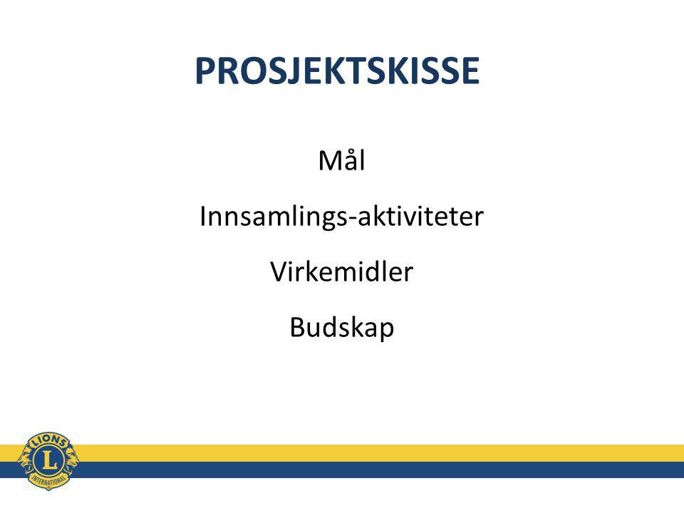 PROSJEKTSKISSE Mål Innsamlings-aktiviteter Virkemidler Budskap