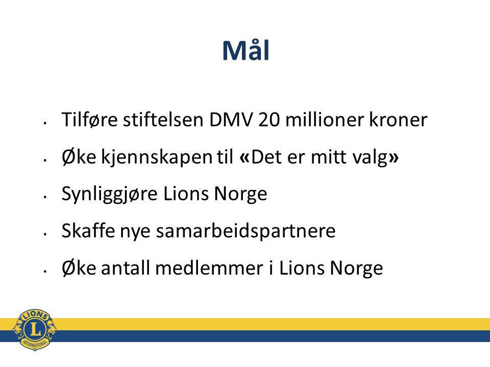 Mål Tilføre stiftelsen DMV 20 millioner kroner Øke kjennskapen til «Det er mitt valg» Synliggjøre Lions Norge Skaffe nye samarbeidspartnere Øke antall medlemmer i Lions Norge