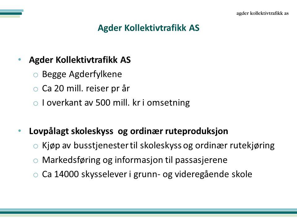 Agder Kollektivtrafikk AS o Begge Agderfylkene o Ca 20 mill.