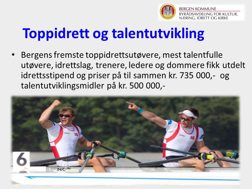 Toppidrett og talentutvikling Bergens fremste toppidrettsutøvere, mest talentfulle utøvere, idrettslag, trenere, ledere og dommere fikk utdelt idrettsstipend og priser på til sammen kr.