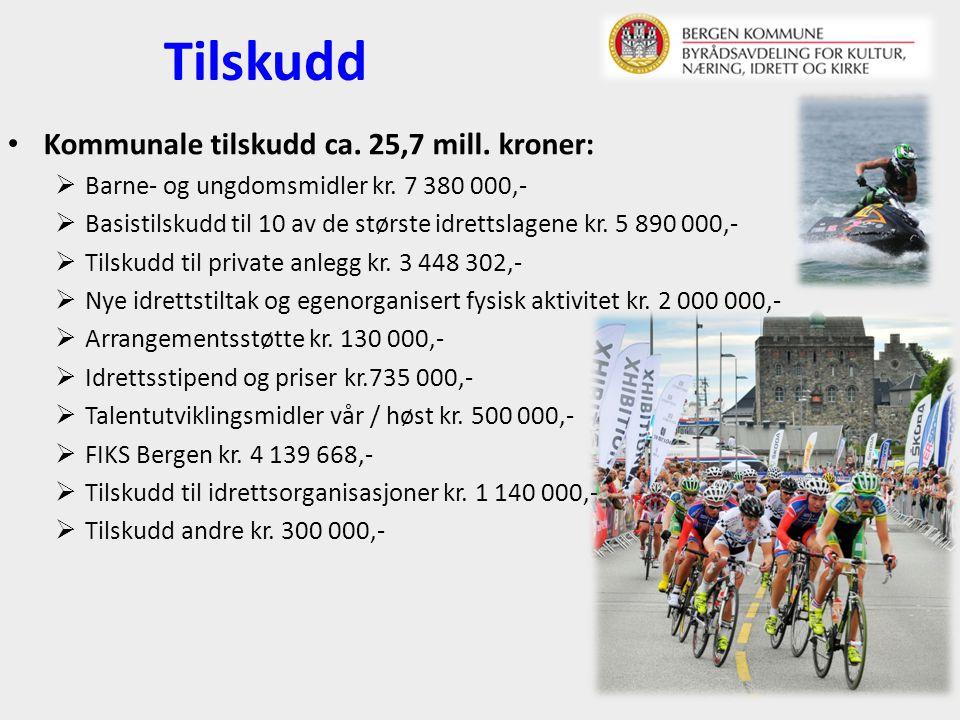 Tilskudd Kommunale tilskudd ca. 25,7 mill. kroner:  Barne- og ungdomsmidler kr.