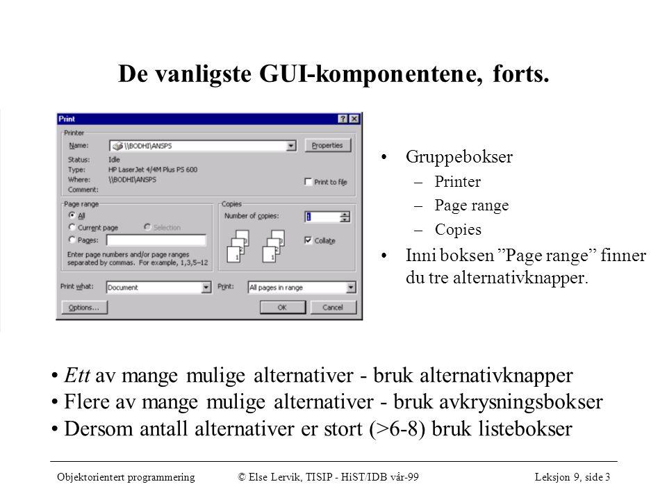 Objektorientert programmering© Else Lervik, TISIP - HiST/IDB vår-99Leksjon 9, side 3 De vanligste GUI-komponentene, forts.