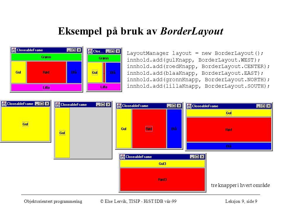 Objektorientert programmering© Else Lervik, TISIP - HiST/IDB vår-99Leksjon 9, side 9 Eksempel på bruk av BorderLayout LayoutManager layout = new BorderLayout(); innhold.add(gulKnapp, BorderLayout.WEST); innhold.add(roedKnapp, BorderLayout.CENTER); innhold.add(blaaKnapp, BorderLayout.EAST); innhold.add(gronnKnapp, BorderLayout.NORTH); innhold.add(lillaKnapp, BorderLayout.SOUTH); tre knapper i hvert område