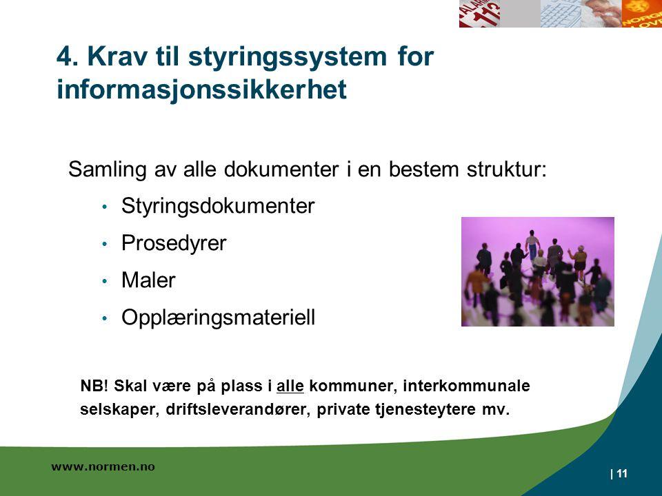 www.normen.no 4. Krav til styringssystem for informasjonssikkerhet | 11 Samling av alle dokumenter i en bestem struktur: Styringsdokumenter Prosedyrer