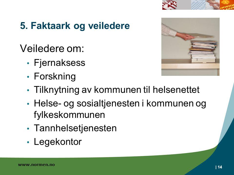www.normen.no | 14 5. Faktaark og veiledere Veiledere om: Fjernaksess Forskning Tilknytning av kommunen til helsenettet Helse- og sosialtjenesten i ko