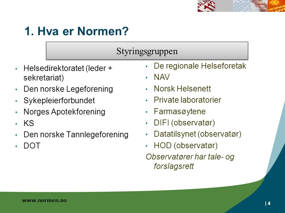www.normen.no | 4 1. Hva er Normen? Helsedirektoratet (leder + sekretariat) Den norske Legeforening Sykepleierforbundet Norges Apotekforening KS Den n