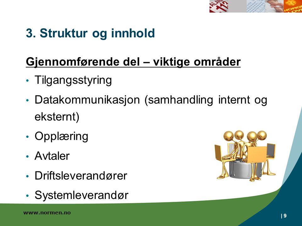 www.normen.no | 9 3. Struktur og innhold Gjennomførende del – viktige områder Tilgangsstyring Datakommunikasjon (samhandling internt og eksternt) Oppl