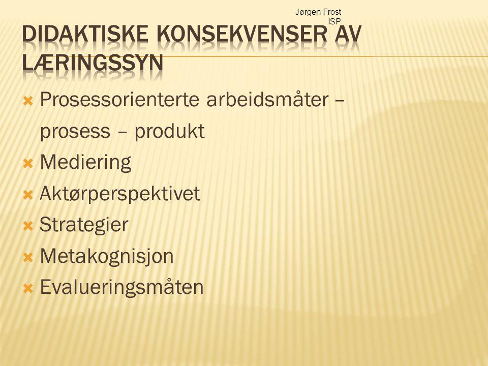  Prosessorienterte arbeidsmåter – prosess – produkt  Mediering  Aktørperspektivet  Strategier  Metakognisjon  Evalueringsmåten Jørgen Frost ISP