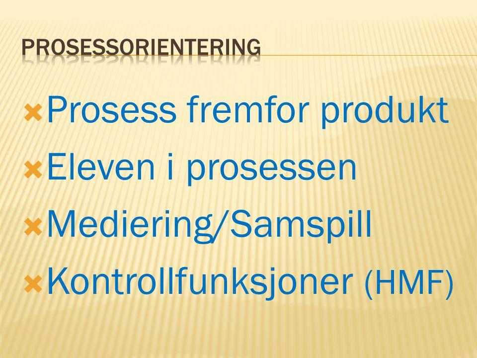  Prosess fremfor produkt  Eleven i prosessen  Mediering/Samspill  Kontrollfunksjoner (HMF)