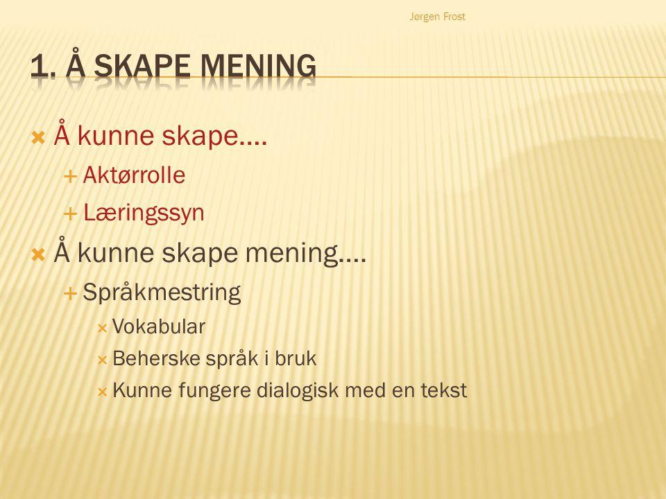 Jørgen Frost  Å kunne skape….  Aktørrolle  Læringssyn  Å kunne skape mening….  Språkmestring  Vokabular  Beherske språk i bruk  Kunne fungere