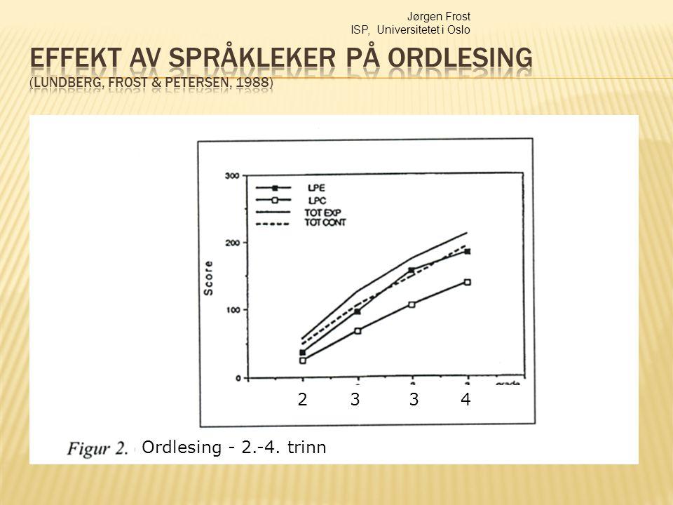 Jørgen Frost ISP, Universitetet i Oslo Ordlesing - 2.-4. trinn 2 3 3 4