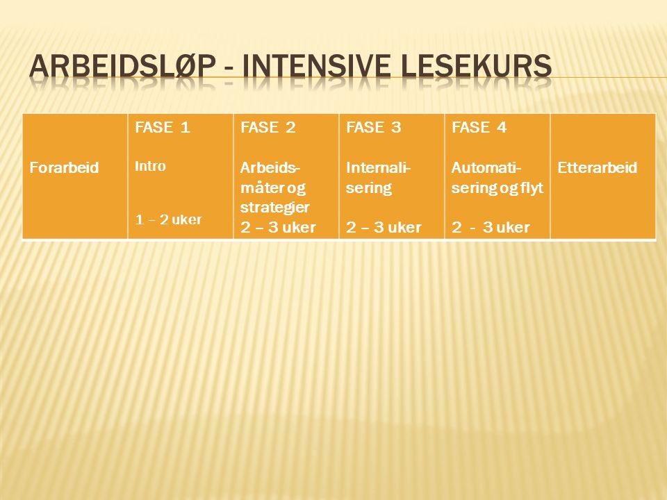 Forarbeid FASE 1 Intro 1 – 2 uker FASE 2 Arbeids- måter og strategier 2 – 3 uker FASE 3 Internali- sering 2 – 3 uker FASE 4 Automati- sering og flyt 2