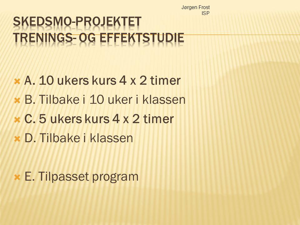  A. 10 ukers kurs 4 x 2 timer  B. Tilbake i 10 uker i klassen  C. 5 ukers kurs 4 x 2 timer  D. Tilbake i klassen  E. Tilpasset program Jørgen Fro