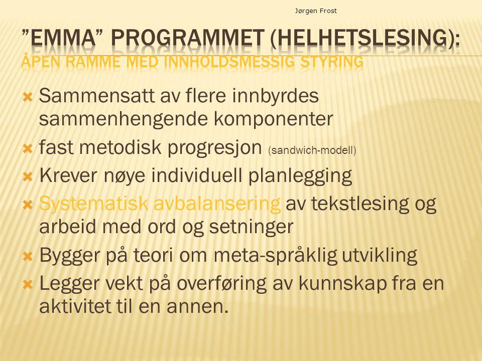 Jørgen Frost  Sammensatt av flere innbyrdes sammenhengende komponenter  fast metodisk progresjon (sandwich-modell)  Krever nøye individuell planleg