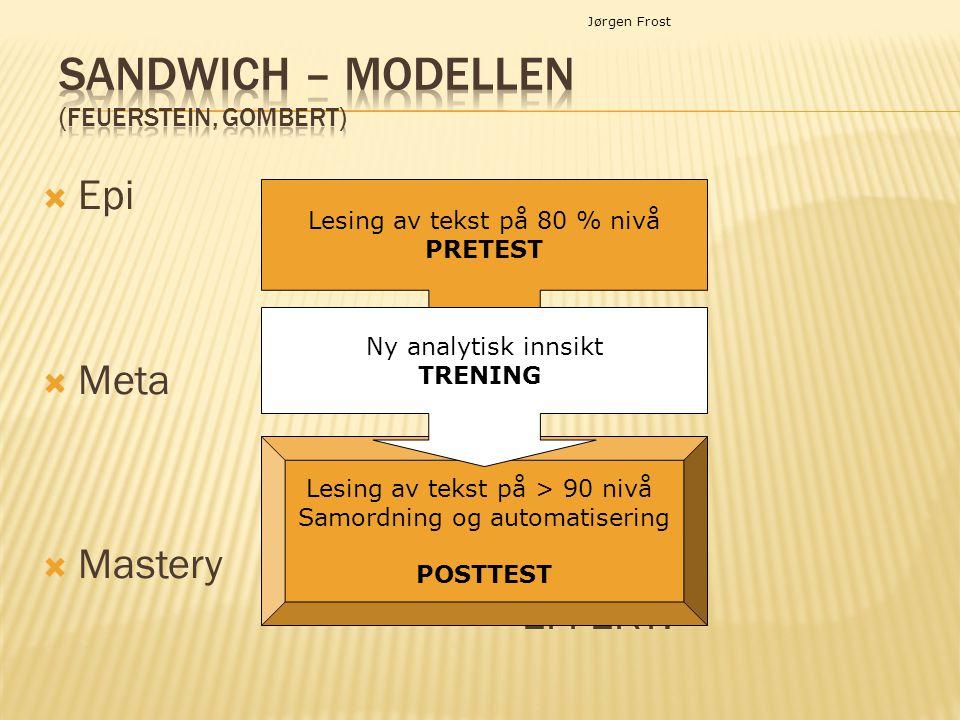 Jørgen Frost  Epi  Meta  Mastery EFFEKT! Lesing av tekst på > 90 nivå Samordning og automatisering POSTTEST Lesing av tekst på 80 % nivå PRETEST Ny