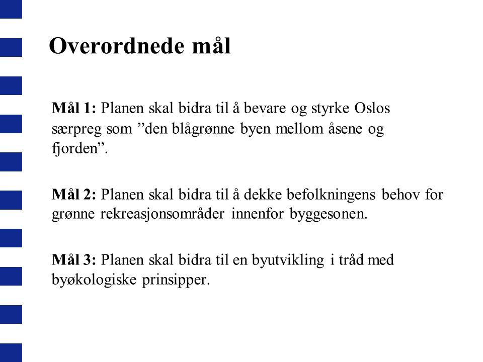 """Overordnede mål Mål 1: Planen skal bidra til å bevare og styrke Oslos særpreg som """"den blågrønne byen mellom åsene og fjorden"""". Mål 2: Planen skal bid"""