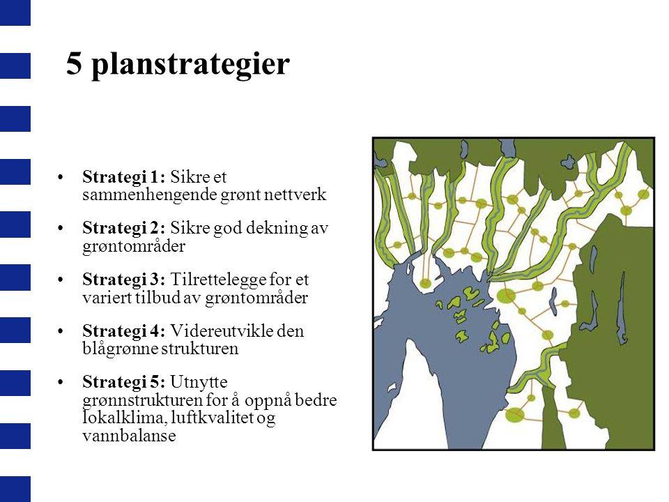 5 planstrategier Strategi 1: Sikre et sammenhengende grønt nettverk Strategi 2: Sikre god dekning av grøntområder Strategi 3: Tilrettelegge for et var