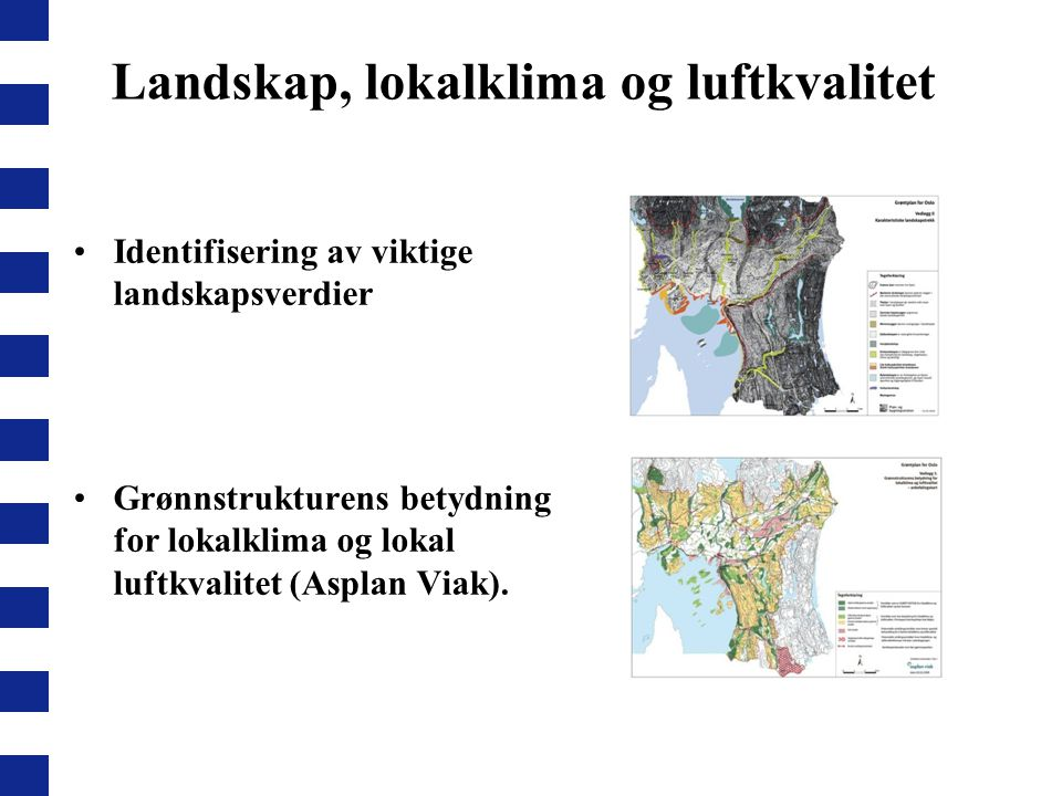 Landskap, lokalklima og luftkvalitet Identifisering av viktige landskapsverdier Grønnstrukturens betydning for lokalklima og lokal luftkvalitet (Aspla