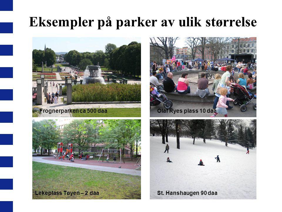 Lekeplass Tøyen – 2 daaSt. Hanshaugen 90 daa Olaf Ryes plass 10 daaFrognerparken ca 500 daa Eksempler på parker av ulik størrelse