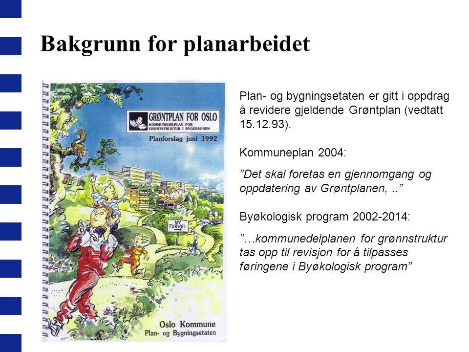 """Bakgrunn for planarbeidet Plan- og bygningsetaten er gitt i oppdrag å revidere gjeldende Grøntplan (vedtatt 15.12.93). Kommuneplan 2004: """"Det skal for"""
