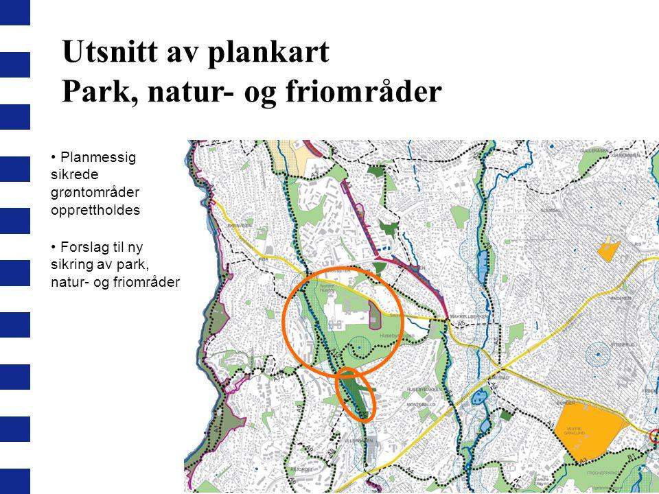 Utsnitt av plankart Park, natur- og friområder Planmessig sikrede grøntområder opprettholdes Forslag til ny sikring av park, natur- og friområder