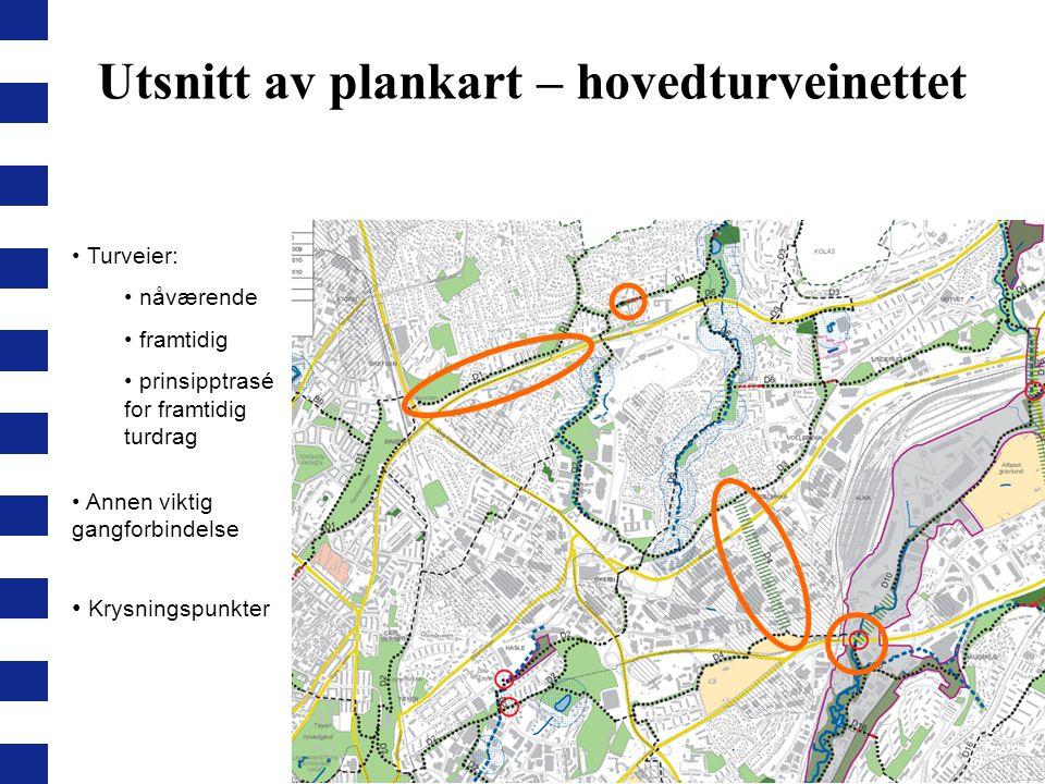 Turveier: nåværende framtidig prinsipptrasé for framtidig turdrag Utsnitt av plankart – hovedturveinettet Krysningspunkter Annen viktig gangforbindels