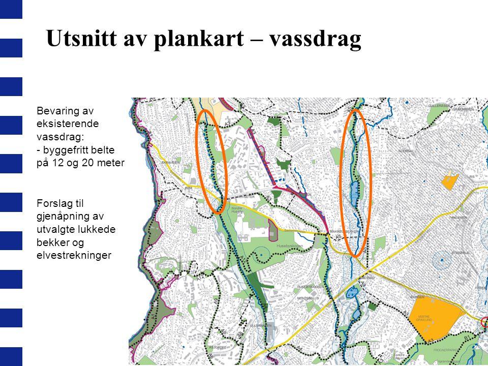 Utsnitt av plankart – vassdrag Bevaring av eksisterende vassdrag: - byggefritt belte på 12 og 20 meter Forslag til gjenåpning av utvalgte lukkede bekk