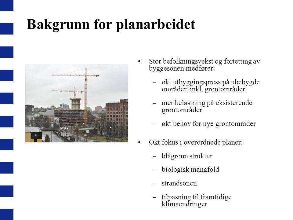 Bakgrunn for planarbeidet Stor befolkningsvekst og fortetting av byggesonen medfører: –økt utbyggingspress på ubebygde områder, inkl. grøntområder –me