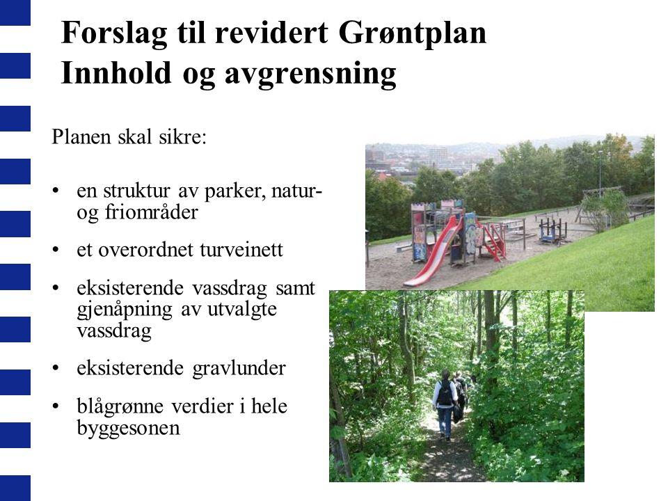 Forslag til revidert Grøntplan Innhold og avgrensning Planen skal sikre: en struktur av parker, natur- og friområder et overordnet turveinett eksister