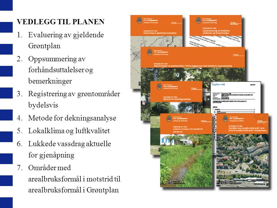 VEDLEGG TIL PLANEN 1.Evaluering av gjeldende Grøntplan 2.Oppsummering av forhåndsuttalelser og bemerkninger 3.Registrering av grøntområder bydelsvis 4