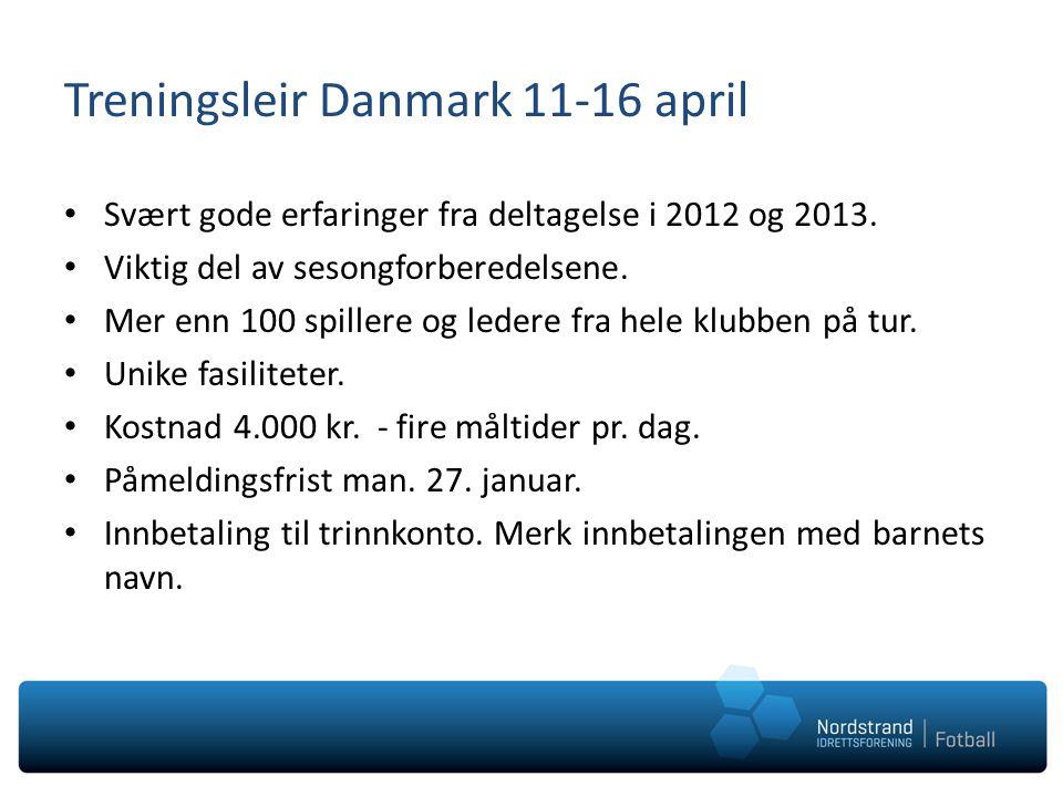 Treningsleir Danmark 11-16 april Svært gode erfaringer fra deltagelse i 2012 og 2013. Viktig del av sesongforberedelsene. Mer enn 100 spillere og lede