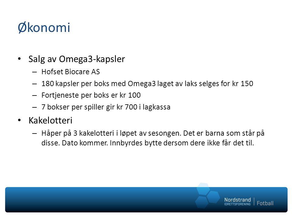 Økonomi Salg av Omega3-kapsler – Hofset Biocare AS – 180 kapsler per boks med Omega3 laget av laks selges for kr 150 – Fortjeneste per boks er kr 100