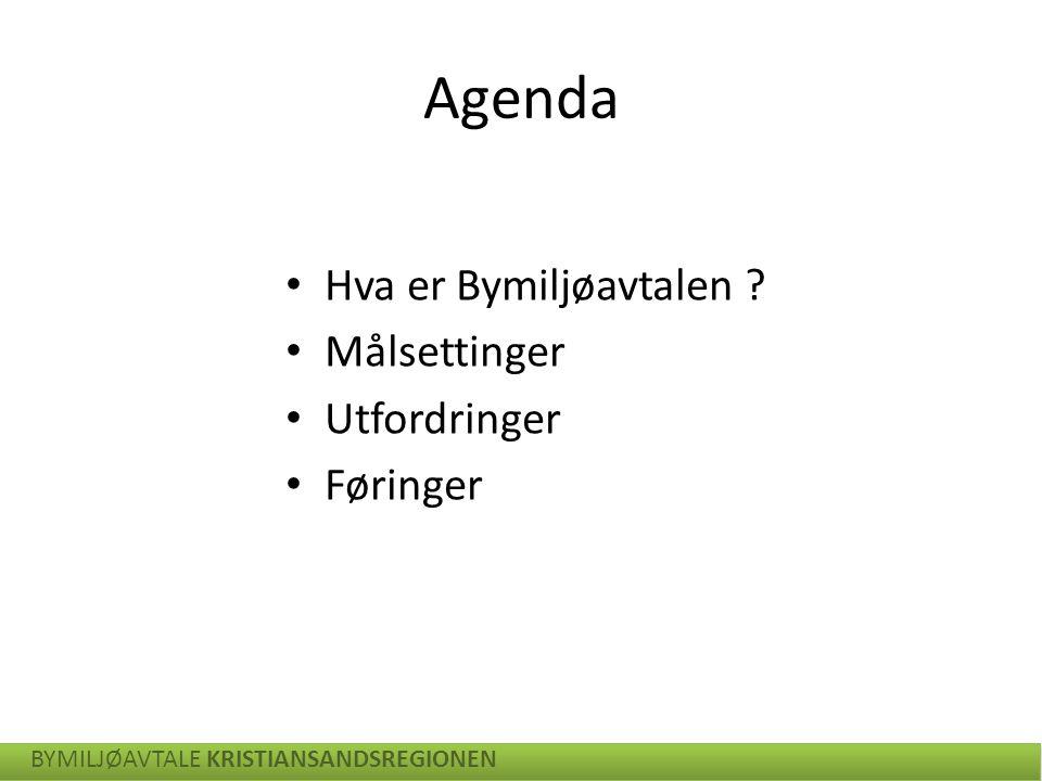 Agenda Hva er Bymiljøavtalen ? Målsettinger Utfordringer Føringer BYMILJØAVTALE KRISTIANSANDSREGIONEN