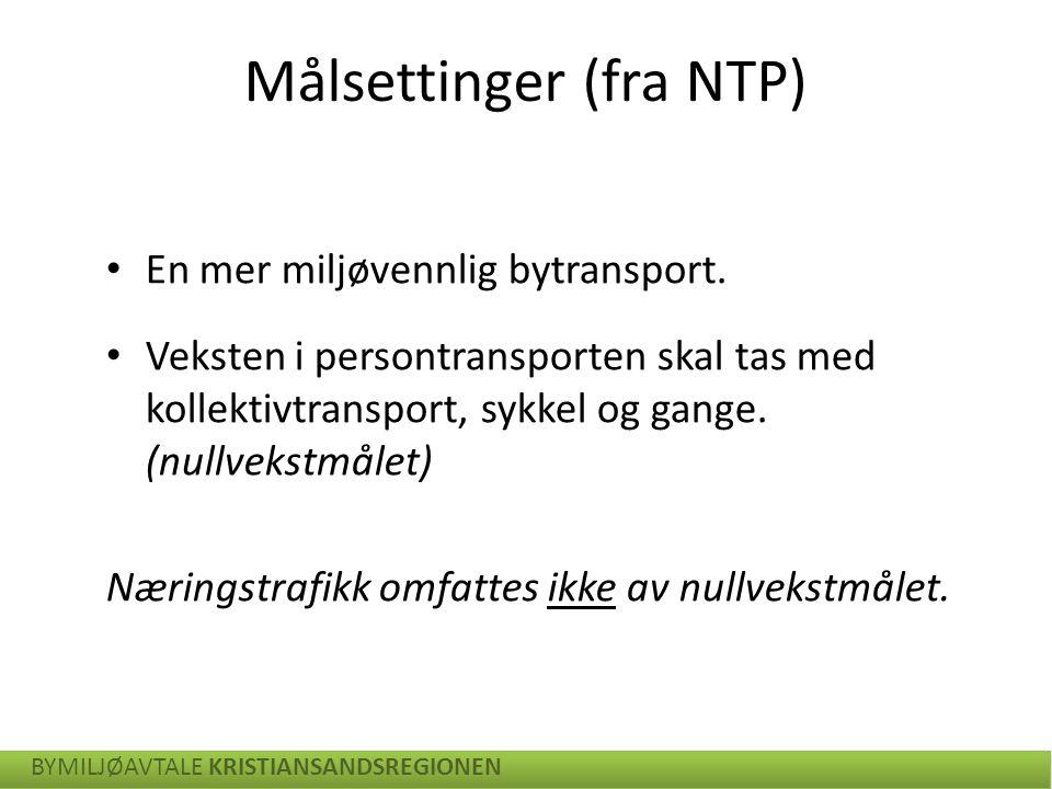 En mer miljøvennlig bytransport. Veksten i persontransporten skal tas med kollektivtransport, sykkel og gange. (nullvekstmålet) Næringstrafikk omfatte