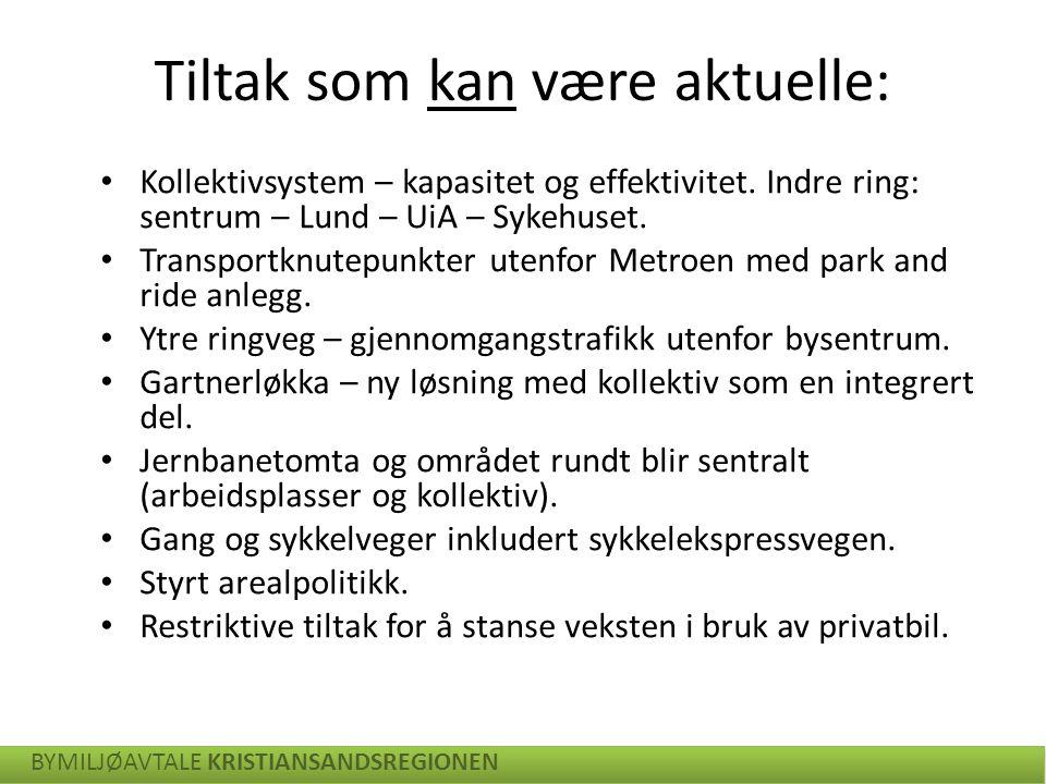 Kollektivsystem – kapasitet og effektivitet. Indre ring: sentrum – Lund – UiA – Sykehuset. Transportknutepunkter utenfor Metroen med park and ride anl