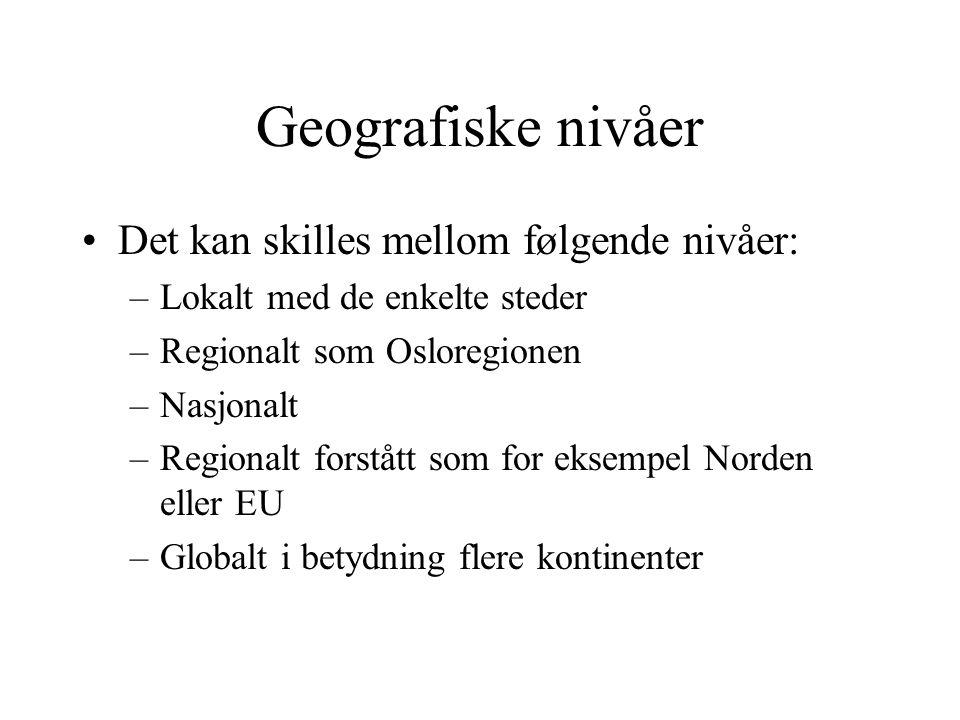 Geografiske nivåer Det kan skilles mellom følgende nivåer: –Lokalt med de enkelte steder –Regionalt som Osloregionen –Nasjonalt –Regionalt forstått so