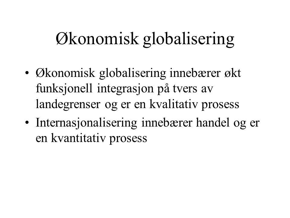 Økonomisk globalisering Økonomisk globalisering innebærer økt funksjonell integrasjon på tvers av landegrenser og er en kvalitativ prosess Internasjon